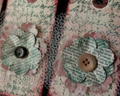 LARGE TAGS 4 - Collage and Ink - Vintage Script Flower Book Text Embellisment Button & Tulle