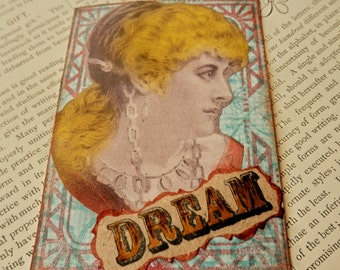 SALE ACEO ATC  One-of-a-kind Collage and Ink Dream