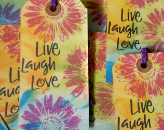 """LARGE TAGS 3 - """"Live Laugh Love"""" Red Blue Yellow Purple Green Pink"""