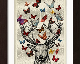 Deer Antlers Colorful Butterflies  print on vintage (1880's) upcycled Dictionary Encyclopedia book page