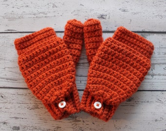 Crochet Convertible Texting Mittens, You pick color, Made to Order