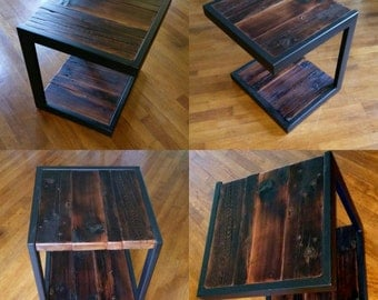 Custom Modern Rustic Industrial C Accent Tables