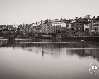 Florence, Italy Arno River & Ponte Vecchio Original Black and White Print