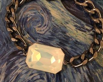 Large White fire Opal Swarovski crystal gunmetal chain bracelet