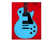 Gibson Les Paul  POP art guitar art print / music gift / rock n roll art / music room decor / guitar gift / man cave art