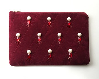 SALE - Bejeweled Velvet Clutch - Ruby