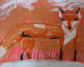 """Fox Painting-Original Acrylic Painting-Red Fox-Fox in Snow-Abstract-One of a Kind-5""""x7"""" Painting-8""""x10"""" White Mat"""