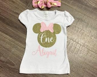 FREE SHIPPING!  Girls First Birthday Shirt, Minnie Mouse Birthday Outfit, Girls First Birthday Top, Personalized Birthday Shirt, Minnie Top