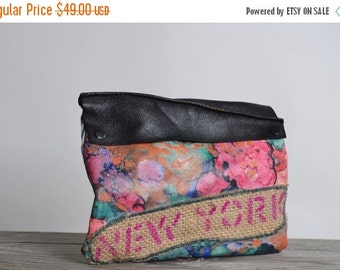 ON SALE Abstract Leather Clutch - OOAK Leather Clutch - Pink Leather Clutch - New York - Up-cycled Leather Clutch