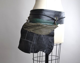 SUMMER SALE Up-cycled Leather Hip Bag Belt - Leather Hip Bag Belt - OOAK Leather Belt Bag - Leather Fanny Pack - Festival Leather Bags