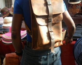 Leather Backpack,Tan Leather Backpack,Tan Backpack Bag,Rustic Backpack Bag,Mens Backpack,Travel Backpack,Women Backpack,Custom Backpack
