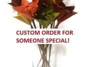 Custom Order: Vintage Book Paper Flowers w/Brown Paper Stems