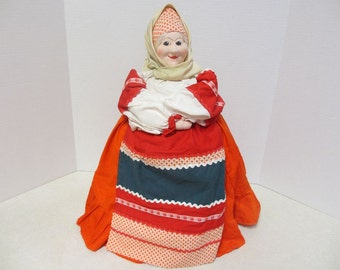Russian Tea Cozy with Label 1986 Stockinette Face from Moscow Toy Factory