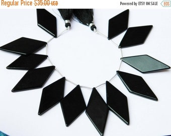 20%off. AAA.Quality Black Onyx Smooth Fancy Briolettes-Black Onyx Beads,Chandelier Briolette- Big size 47x20mm Approx.