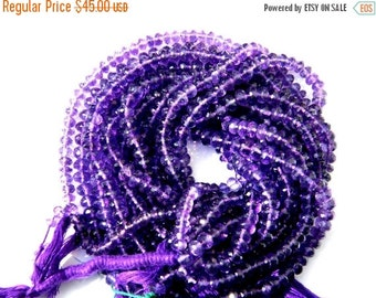 20%off. Top Quality-Amethyst Faceted Roundel Semiprecious Gemstone Beads-Big Size 7mm Approx Hard to find-100 Percent Natural.