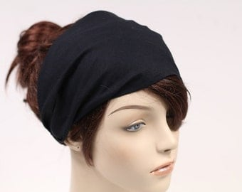 Basic Black Womens Head Scarf Womens Black Headband Fabric Headband Womens Head Wrap Black Bandana Headscarf Hair Accessory Gift for Her