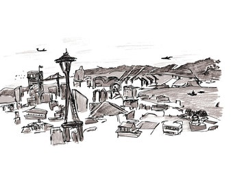 Seattle Skyline 5x7 Print, Space Needle Print, Illustrated Print, Art Print
