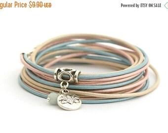 SALE ROSE QUARTZ Serenity Lotus Charm Bracelet, Blue Rose Cream BohoBracelet, Yoga Bohemian Jewelry, Pastel Colors Women Bracelet, gift for