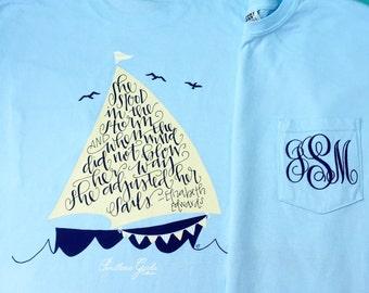 Adjust Your Sails Shirt - Monogram Shirt - Monogrammed Shirt - Monogram Comfort Colors tshirt - Sailboat shirt - Southern Girls Collection