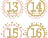 ON SALE Baby Monthly Milestone Growth Stickers in Second Year 13-24 Months Gold Glitter Light Pink Dots Chevrons Nursery MS001c Baby Shower
