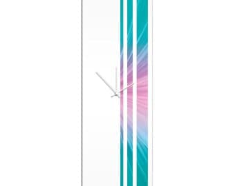 Large Modern Clock 'Paradise Triple Stripe Clock' by Adam Schwoeppe - Wall Decor Minimalist Accent Piece on Acrylic