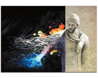 Sci-Fi Wall Art 'Ben Evolving' Urban Man Science Fiction Digital Print on Metal - HD Giclee - Contemporary Artwork - Modern Decorator