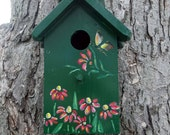 Birdhouse, outdoor use, cedar wood, nesting box, stenciled, painted,unique one of a kind,green, flowers, easy cleanout, handmade in USA