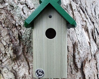 Bluebird house,PVC bird house,mostly maintenance free,handmade in USA, post mount birdhouse, hanging birdhouse, green roof, ez cleanout