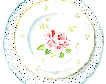 Decorative Plate -Home Wall Decor- Pink Rose and Dotted Plates - Kitchen Decor - Watercolor