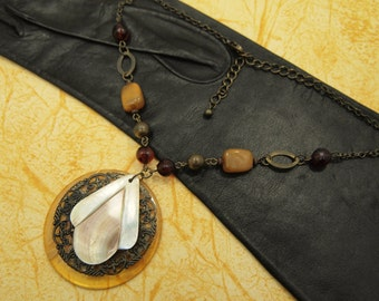 """Pendant Necklace - Mother of Pearl / Filigree / Lucite Pendant - Vintage and New Elements - 16"""" - 19"""""""