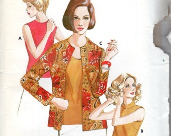 """1980s Women's Jacket or Cardigan and Sleeveless Top Pattern - Size 8, 10, 12 Bust 34"""" to 37"""" - Kwik Sew 572"""