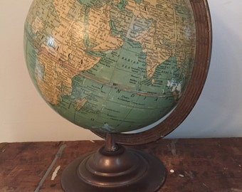 Vintage 8 Inch Terrestrial Globe Made by The George F. Cram Co No.80