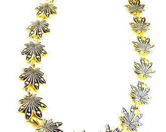 German Eloxal Style Necklace Stamped Aluminium Maple Leaf Motif Signed Globus Foreign Striking Design Style