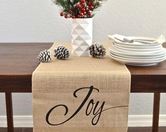 Joy Metallic Burlap Holiday / Christmas Table Runner  -   Metallic Silver/ Black