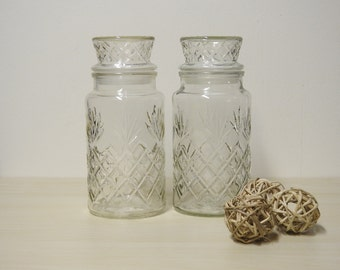 Pineapple Apothecary Jars -  Vintage Planters Peanuts Clear Glass Container Canister Storage Anchor Hocking / Mid Century Retro Kitchen