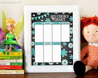Girls Chore Chart - Printable Kids Chore Chart - Teal Room Decor - Girls Room Decor - Chalkboard Chore Chart - DIY Chore List - Weekly Chore
