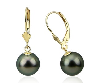 9.0-10.0 mm High Luster Perfect Round Tahitian Cultured Pearl Lever-back Earrings-03