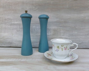 Pair of Wooden Salt and Pepper Shakers Painted Teal