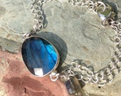 Labradorite bracelet, Sterling Silver bracelet, dark green gemstone fine bracelet with iridescent blue flashes, holiday gift for her, BR2160