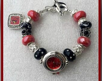 European Style, European Bracelet, Trinkette Style, University of Louisville Watch Face Charm Bracelet on DaVinci Toggle Fashion Jewelry