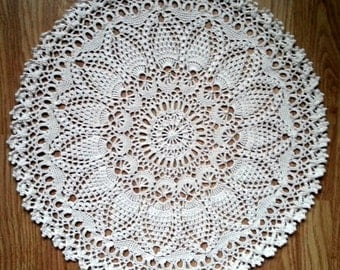 "Off-White crochet doily Round 40 cm / 16"". Crocheted Doily."