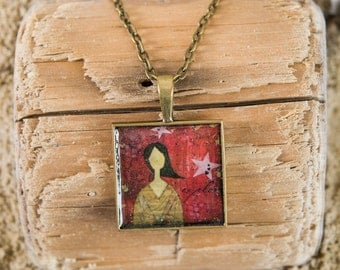 Pendant Necklace - Mixed Media Art Print - Wearable Art