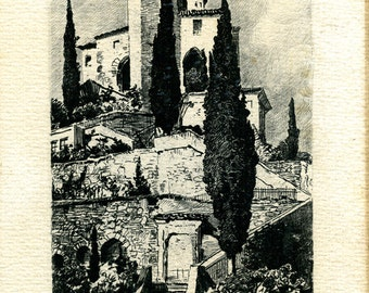 Vintage etching of vico marcote  signed titled