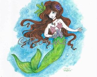 Princess of Avalon pretty MERMAID fairy art fantasy original painting by Ronne Barton