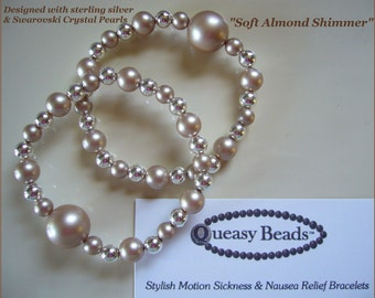 """Queasy Beads™ Motion Sickness Bracelets in """"Soft Almond Shimmer"""""""