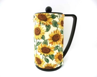Sunflowers French Press Coffee Cozy / Bodum Coffee Press Cozy / RedLeafStitchCraft
