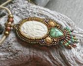 Southwest necklace - owl necklace - turquoise jewelry - goddess jewelry - owl jewelry - owl pendant