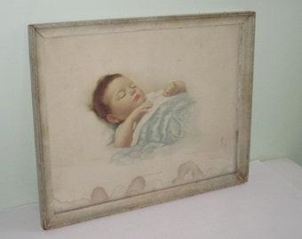 Vintage Framed Baby Print By Annie Benson Fuller Sleep Baby Sleep