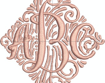 Triple Initial Machine Embroidery Monogram Font