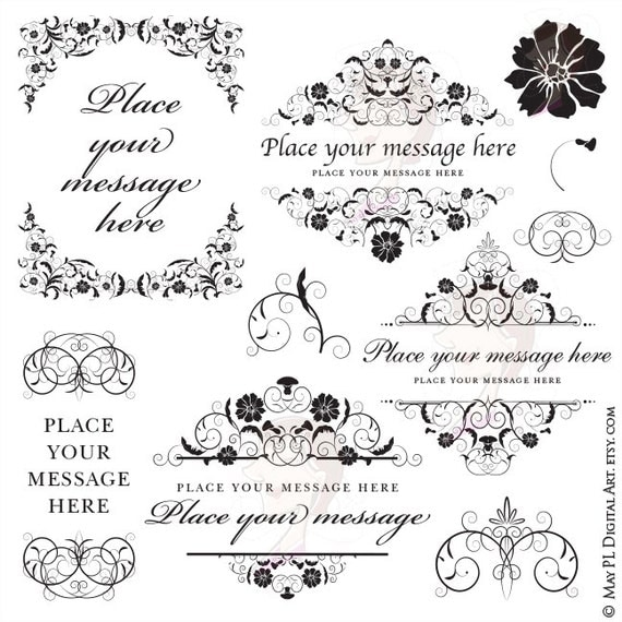 Floral Border Frame Clipart Flourish Vintage Flowers COMMERCIAL USE Wedding Design DIY